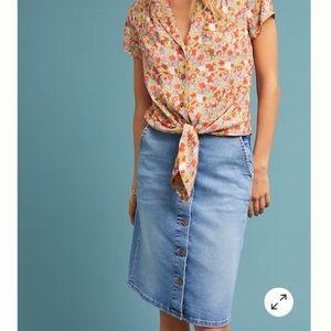 Pilcro Button-Front Denim Skirt